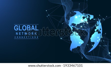 Global network connection concept. Big data visualization. Social network communication in the global computer networks. Internet technology. Business. Science. Vector illustration.