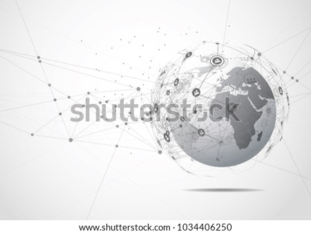 Drawing Lines In Mappoint : Businessman hand touching map point network stock photo