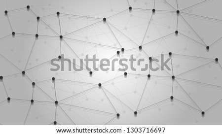 Global Network Connections with Points and Lines. Wireframe of Big Data, Data Analysis, Molecule Structure