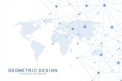 Global network connections with world map. Internet connection background. Abstract connection structure. Polygonal space background. Vector illustration