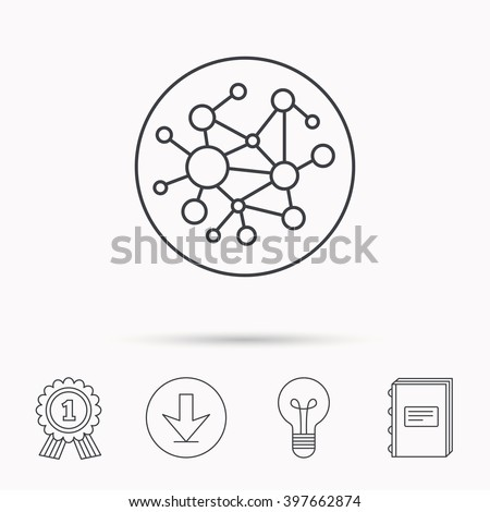 Global network icon. Social connections sign. Download arrow, lamp, learn book and award medal icons.