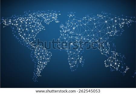 Global network mesh. Social communications background. Earth map. Vector illustration.