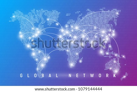 Global network, worldwide communication and connections, international business, digital technologies. Binary code styled vector map of the world.