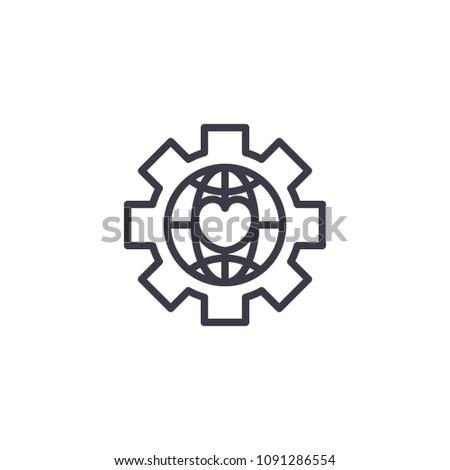 Global NPO linear icon concept. Global NPO line vector sign, symbol, illustration.