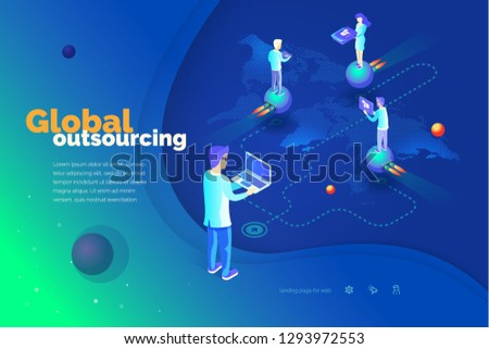Global outsourcing. A man with a laptop manages outsourcing. World map. Outsource professionals to different locations around the world. Modern isometric style illustration