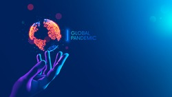 Global pandemic concept. Red dots show nidus of infection on continents of earth hanging over hand medical doctor. Map of World epidemic coronavirus covid-19. disease or Infection on planet on blue.