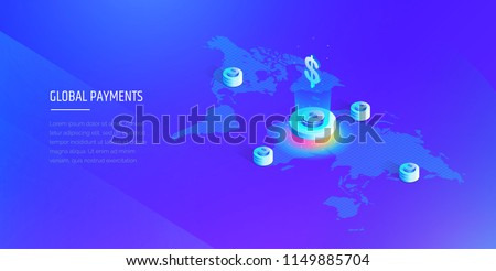 Global payment system. Isometric map of the world with the global financial system. Money transfer all over the world. Modern vector illustration isometric style.