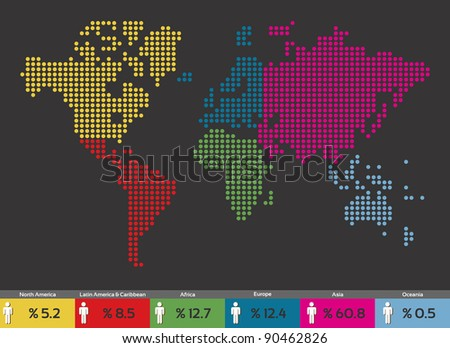 Global population distribution globe world map. Vector file available. - stock vector