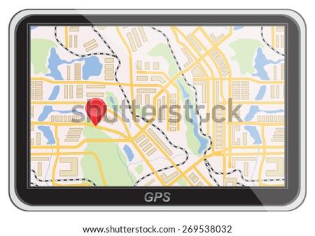 Global Positioning System, navigation. Vector illustration