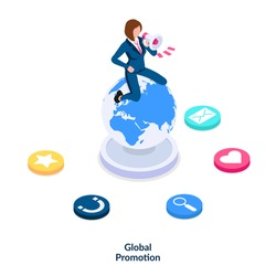 Global promotion concept. A girl in a suit with a megaphone in her hand sits on the planet and advertise various goods and services to the whole world. Isometric vector illustration isolated on white.