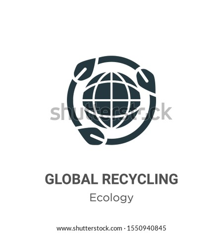 Global recycling symbol vector icon on white background. Flat vector global recycling symbol icon symbol sign from modern ecology collection for mobile concept and web apps design.