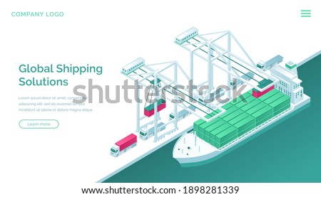Global shipping solutions isometric landing page. Transport logistics, ship port delivery service company, truck cargo transportation, worldwide export, import industrial business 3d vector web banner