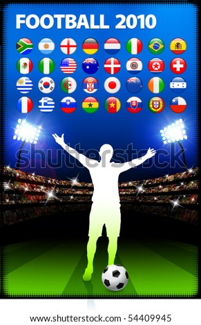 Global 2010 Soccer Match with Stadium Background Original Illustration