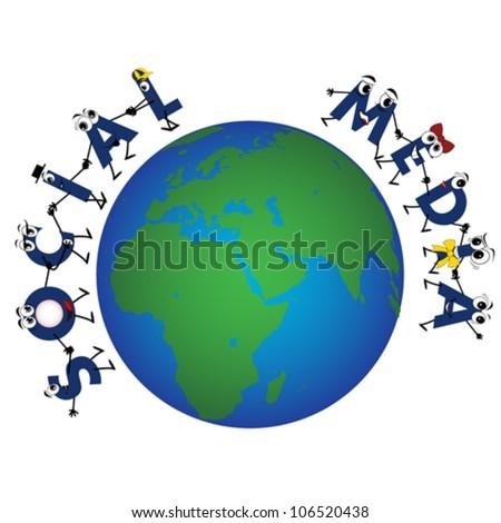 Global Social Media characters, vector - stock vector