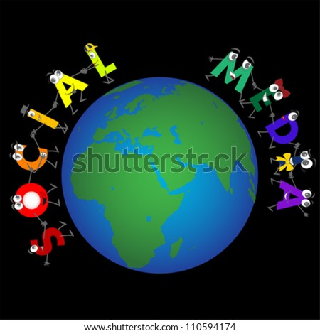 Global Social Media characters, vector