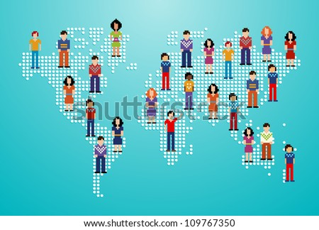 Global social media people network over World map. Vector illustration layered for easy manipulation and custom coloring.