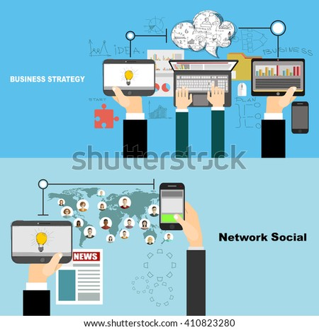 Global social network abstract scheme. Business analysis and planning, consulting, team work. Concepts web banner and printed materials. #410823280