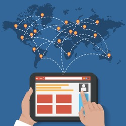 Global Social Network Vector connection and share Concept . With a user holding a tablet showing browser and map with map poinetrs . Flat Design Illustration for Web Sites Infographic Design.