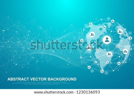 Global structure networking and data connection concept. Social network communication in the global computer networks. Internet technology. Business. Science. Vector illustration