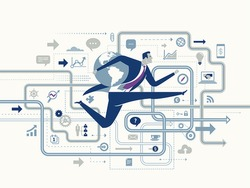 Global Success. Business concept illustration. Business maze.