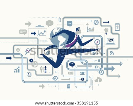 Global Success. Business concept illustration. Business maze.