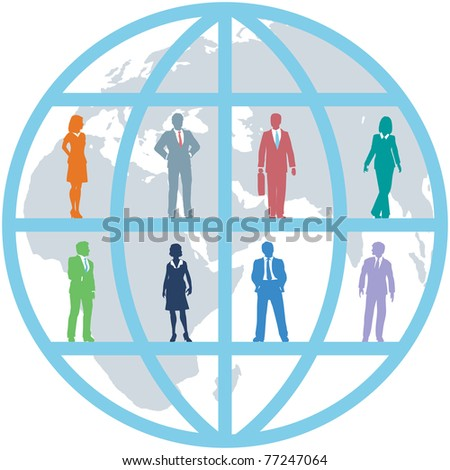 Global team of world business people as international human resources on map background