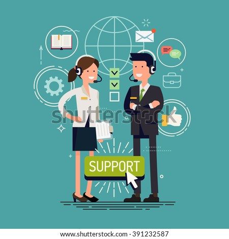 Global technical support vector concept design with support specialist ready to solve any problem. Online tech support illustration. Troubleshooting and maintenance department in business and industry