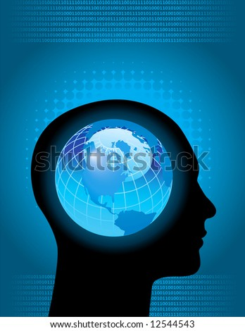Global, technology business background - stock vector