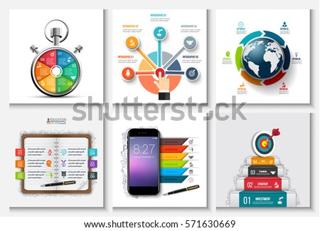 Global, timeline, education, business and mobile infographic templates. Can be used for workflow layout, diagram, business step options, banner, web design.