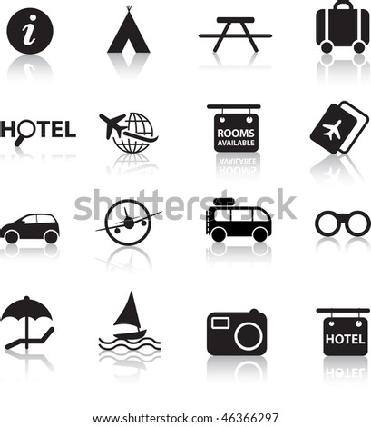 global travel and transport silhouette icon set
