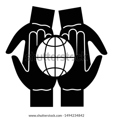 Global unity hands icon. Simple illustration of global unity hands vector icon for web design isolated on white background
