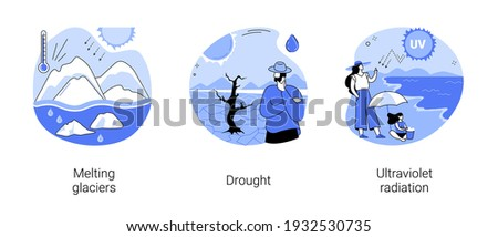 Global warming abstract concept vector illustration set. Melting glaciers, drought, ultraviolet radiation, raising sea level, natural disaster, extreme weather condition, UV rays abstract metaphor.