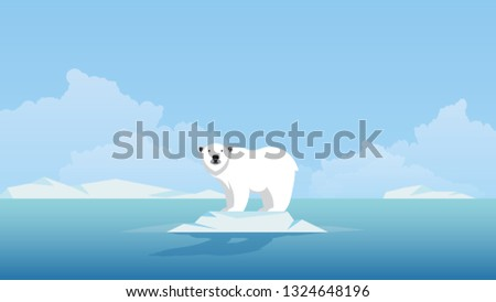 Global warming. Climate change concept. Polar bear on floating ice.