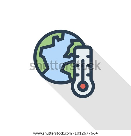 global warming, earth, thermometer thin line flat color icon. Linear vector illustration. Pictogram isolated on white background. Colorful long shadow design.