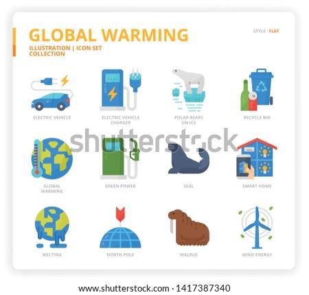 Global Warming icon set for web design, book, magazine, poster, ads, app, etc.