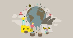 Global Warming Pollution Tiny People Character Concept Vector Illustration, Suitable For Wallpaper, Banner, Background, Card, Book Illustration, Web Landing Page, and Other Related Creative