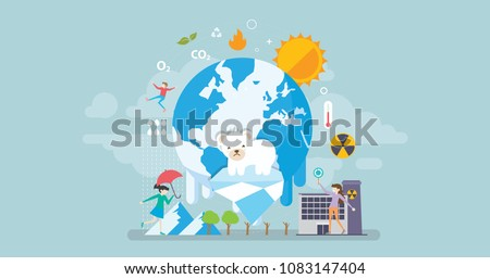 Global Warming Tiny People Character Concept Vector Illustration, Suitable For Wallpaper, Banner, Background, Card, Book Illustration, Web Landing Page, and Other Related Creative