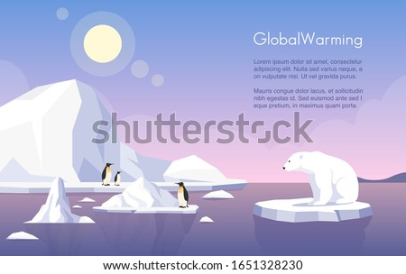 Global warming vector banner template. North Pole, melting glaciers, penguins and polar bear on ice floe flat illustration with text space. Climate change, sea level rise, nature damage