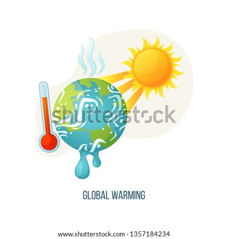 Global warming vector, planet with vapors and melting ground surface, thermometer with scale showing red color, sunshine and heat of sun ecology poster. Concept for Earth day
