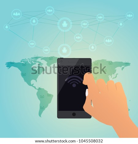 Global wifi hotspot connection for smart phone around the world, vector illustration