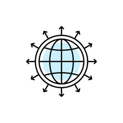 global world expansion icon with thin line earth globe. flat linear trend modern logotype graphic stroke art design element isolated on white. concept of abstract international business distribution