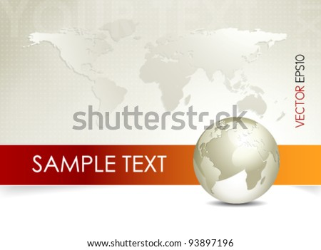 Global world map and globe - abstract business background - brochure design