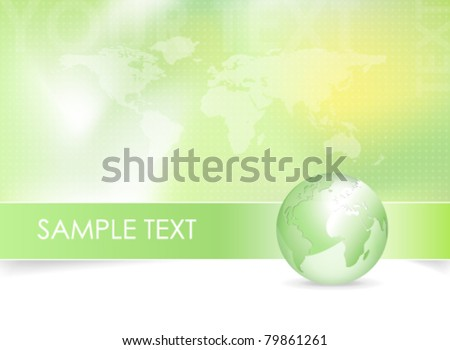 Global world map background design - green earth globe