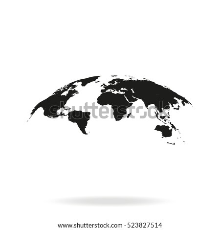 Global world map vector icon isolated on white background. Earth planet illustration. Flat globe pictogram.