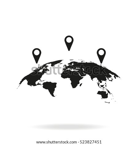 Global world map with geo location pins vector icon. Simple flat GPS pictogram isolated on white background.
