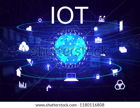 Global world telecommunication network connected around planet Earth, internet of things (IOT), devices and connectivity concepts on a network. Vector illustration IOT