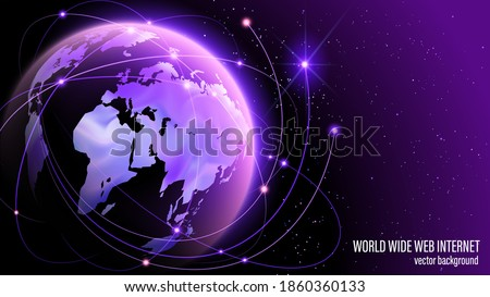 Global World Wide Web internet. Technologies and communications. Launch of the launch vehicle from the spaceport. Satellites and rockets in orbit of planet Earth. Map of the planet. World map. Vector.