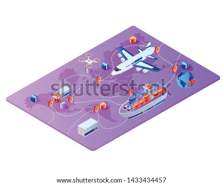 Global Worldwide Logistics, Cargo Export, Import. Integrated Warehousing and Transportation Operation Service. Shipping Business, Air Road Maritime Transport Delivery, Isometric 3d Vector Illustration