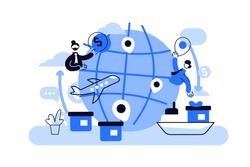 Globalisation flat vector illustration, people around the globe connection concept.
