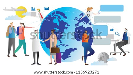 Globalisation vector illustration. Scheme how world connection works. People talking and chatting all around the globe. Day and night web links and social relations. Technology and internet community.